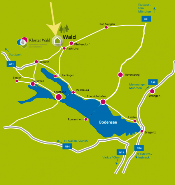 Directions to Kloster Wald - High school, boarding school, training workshops for girls